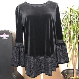 Calessa Velvet Lace Trim Bell Sleeve Top Size S